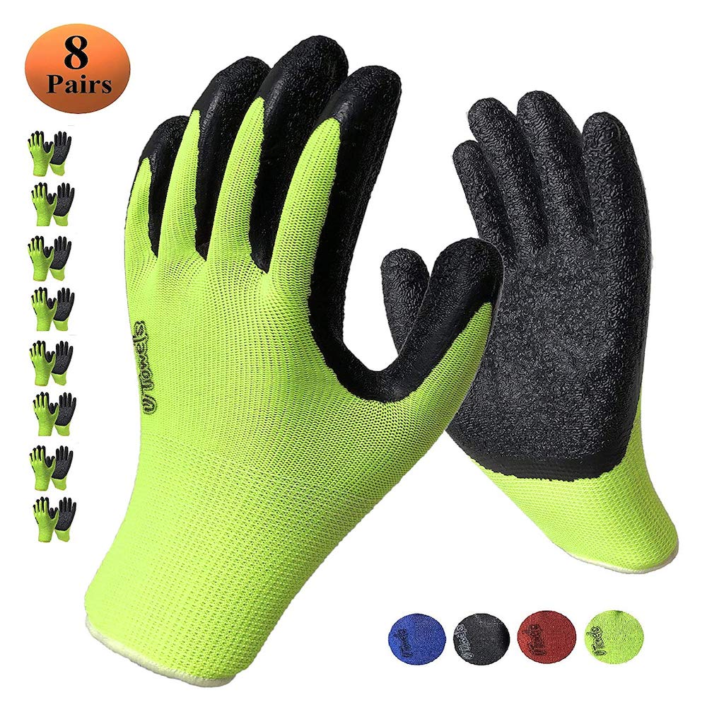 Work Gloves with Textured Firm Grip Coating SMALL SIZE -8 Pack