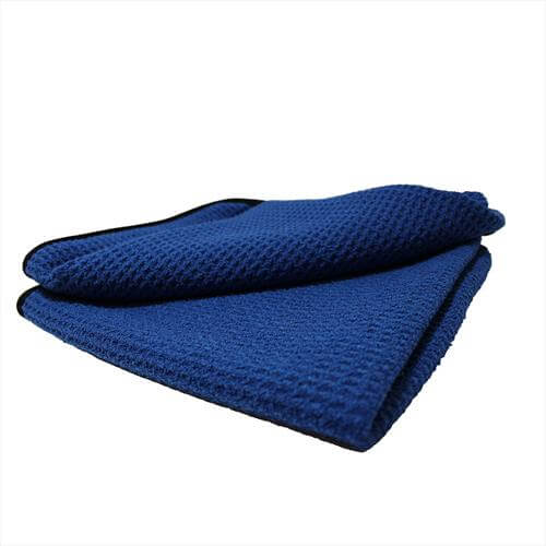 "Waffle Weave Microfiber 16""x16"" Towel with Black Trim"