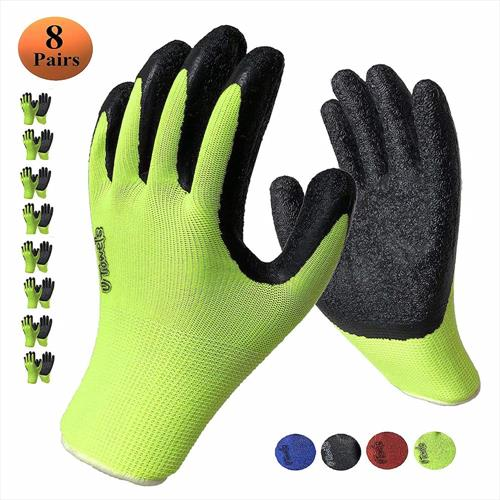 Work Gloves with Textured Firm Grip Coating LARGE SIZE -8 Pack